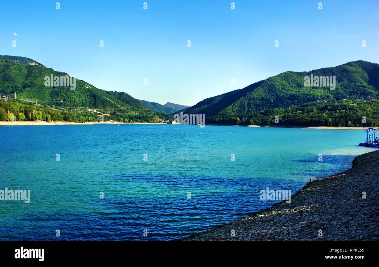 Lake of Suviana, bacino of Suviana, Bologna, Italy - Stock Image