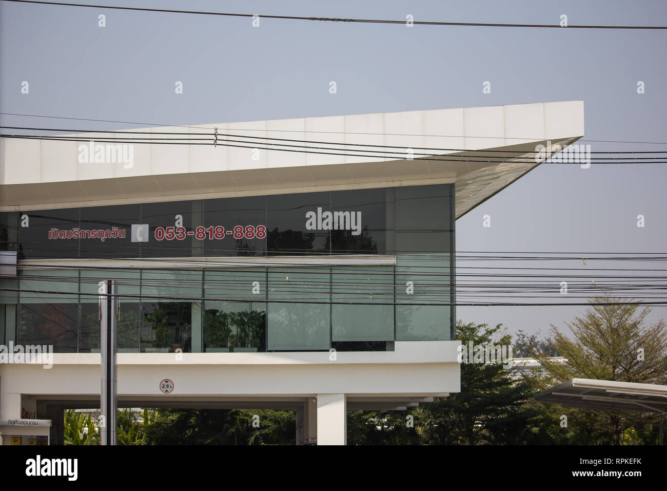 Chiangmai, Thailand - February 21 2019: Honda official dealership and showroom of Honda Paradise Chiangmai. Location on road no.121 about 8 km from do Stock Photo