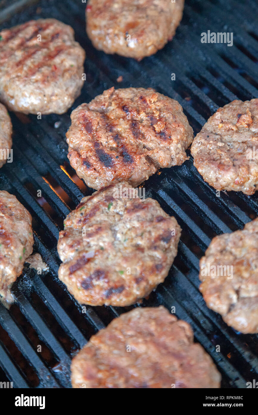 Grilled Burgers - Stock Image