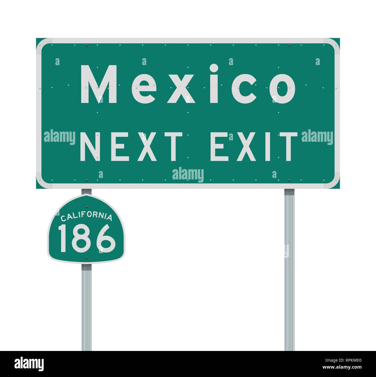 Vector illustration of the Mexico Next Exit and California 186 state route green signs - Stock Image