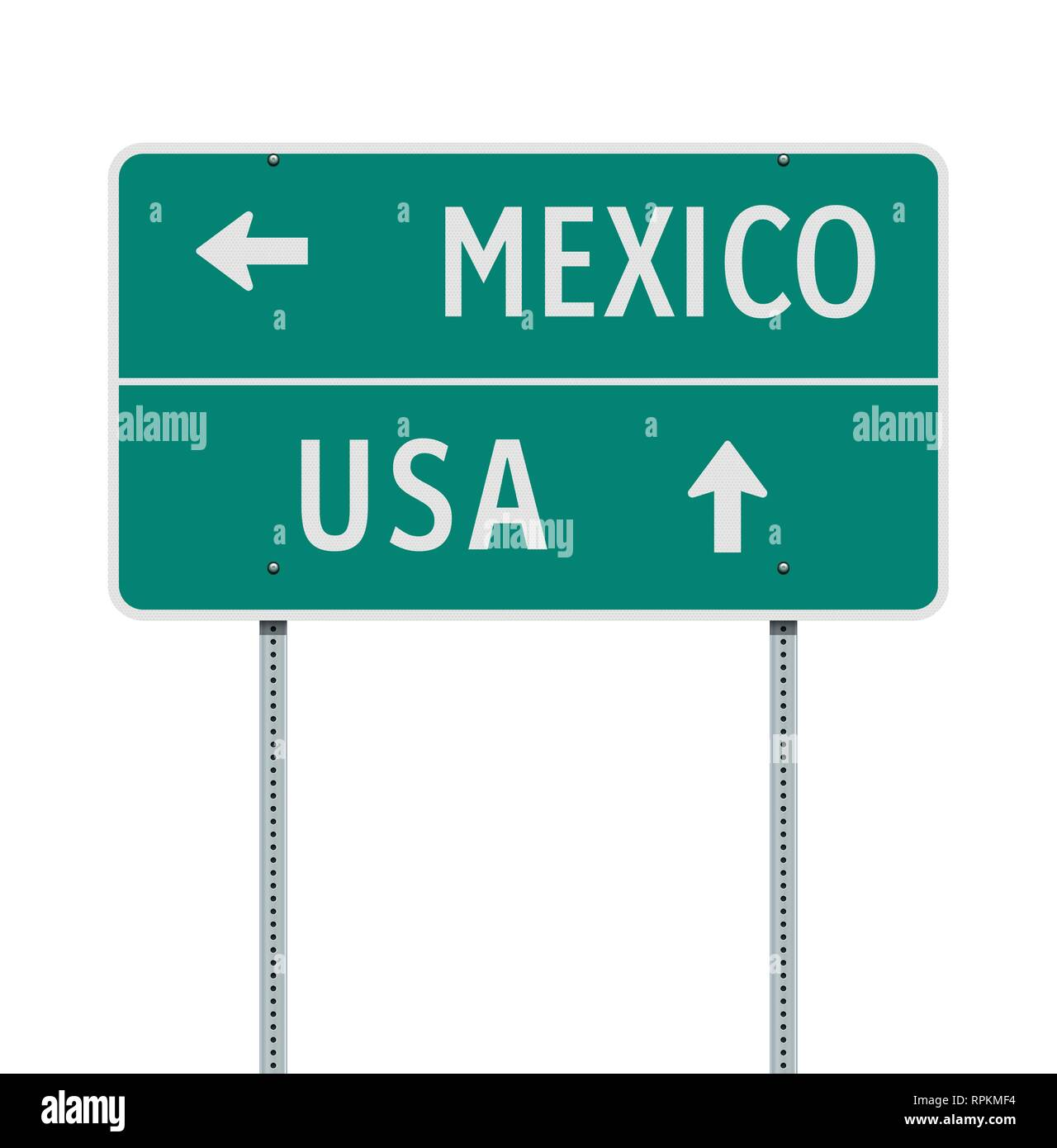 Vector illustration of the Mexico or USA directions green road sign - Stock Image