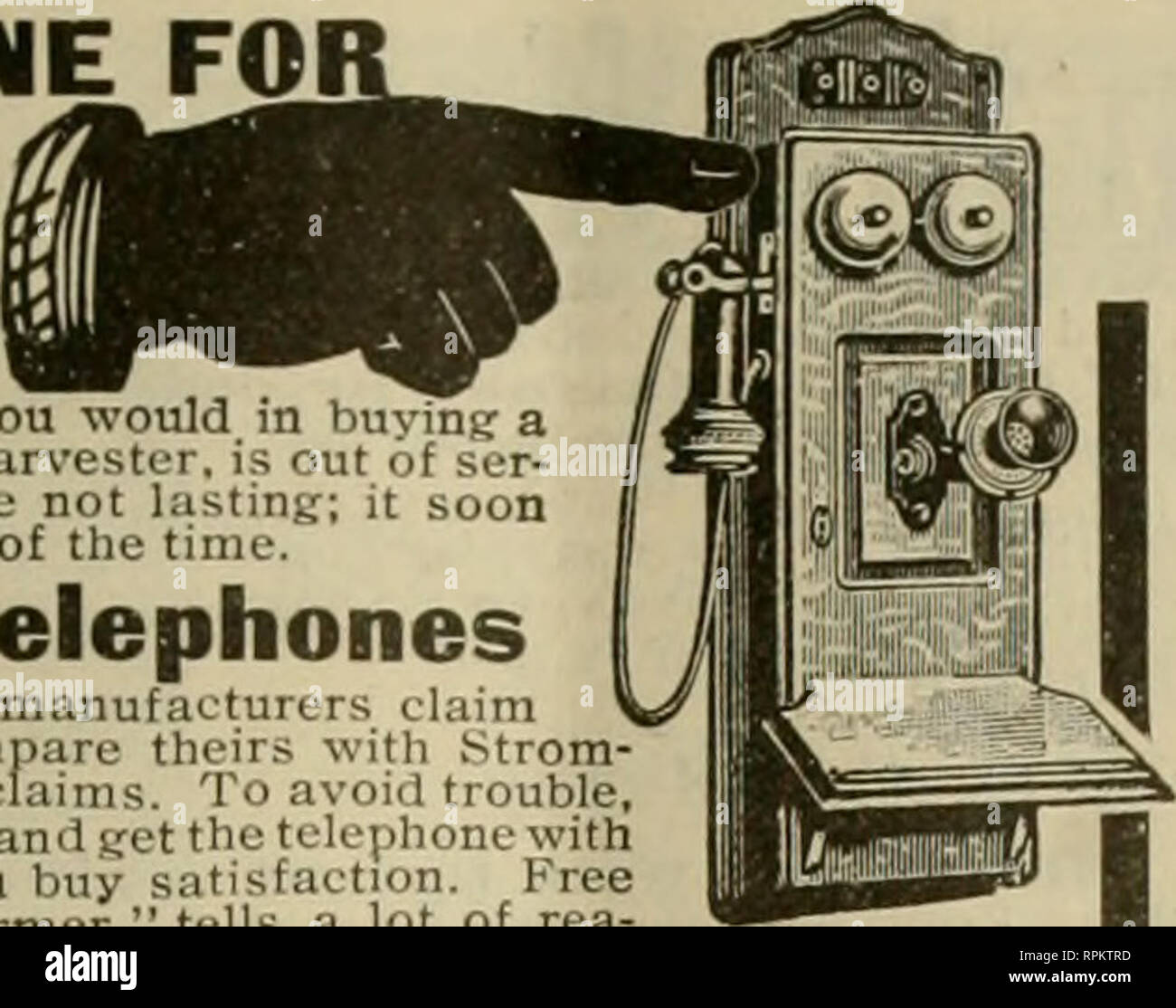 1905 THE AMERICAN BEE JOURNAL 797 THIS IS PHONE FARM FOLKS In Selecting A Telephone For The Farm Line Re Member That