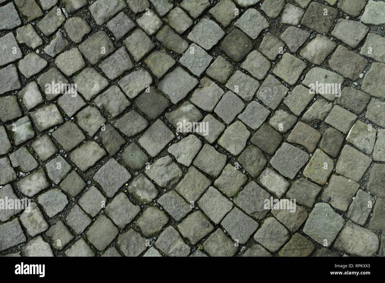 Stone Block Paving Footpath Seamless Stock Photos & Stone
