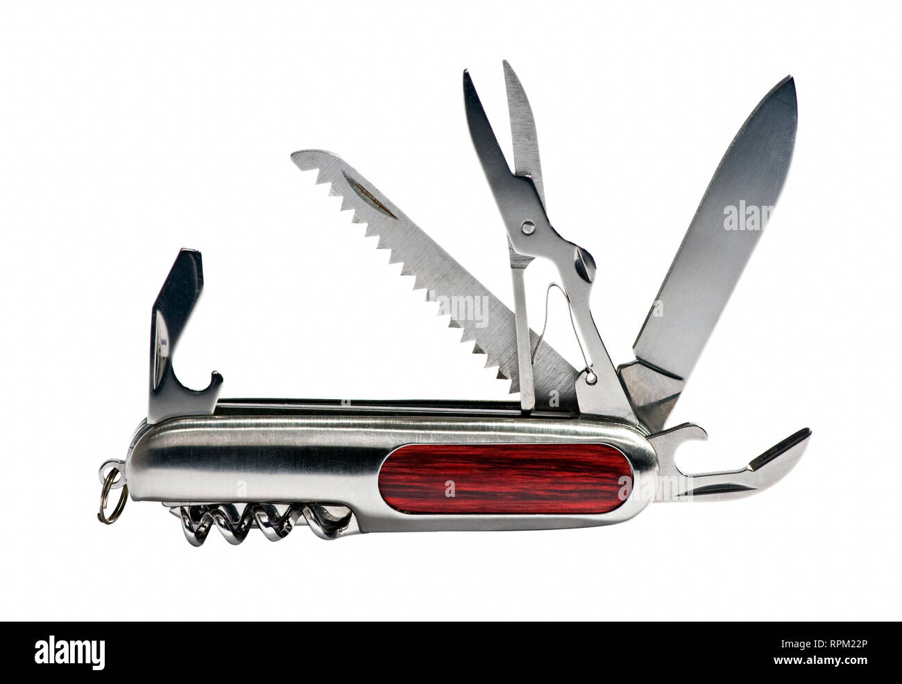 Multipurpose vintage pocket knife with all tools shown, viewed from its side and isolated on white background - Stock Image