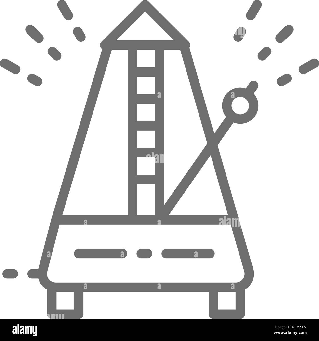 Metronome, rhythm line icon. Isolated on white background - Stock Image