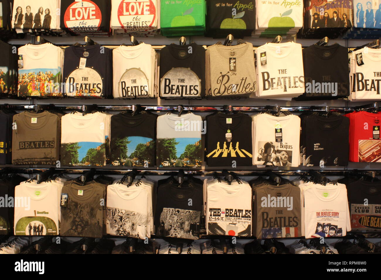 Beatles tee shirts taken in Liverpool - Stock Image