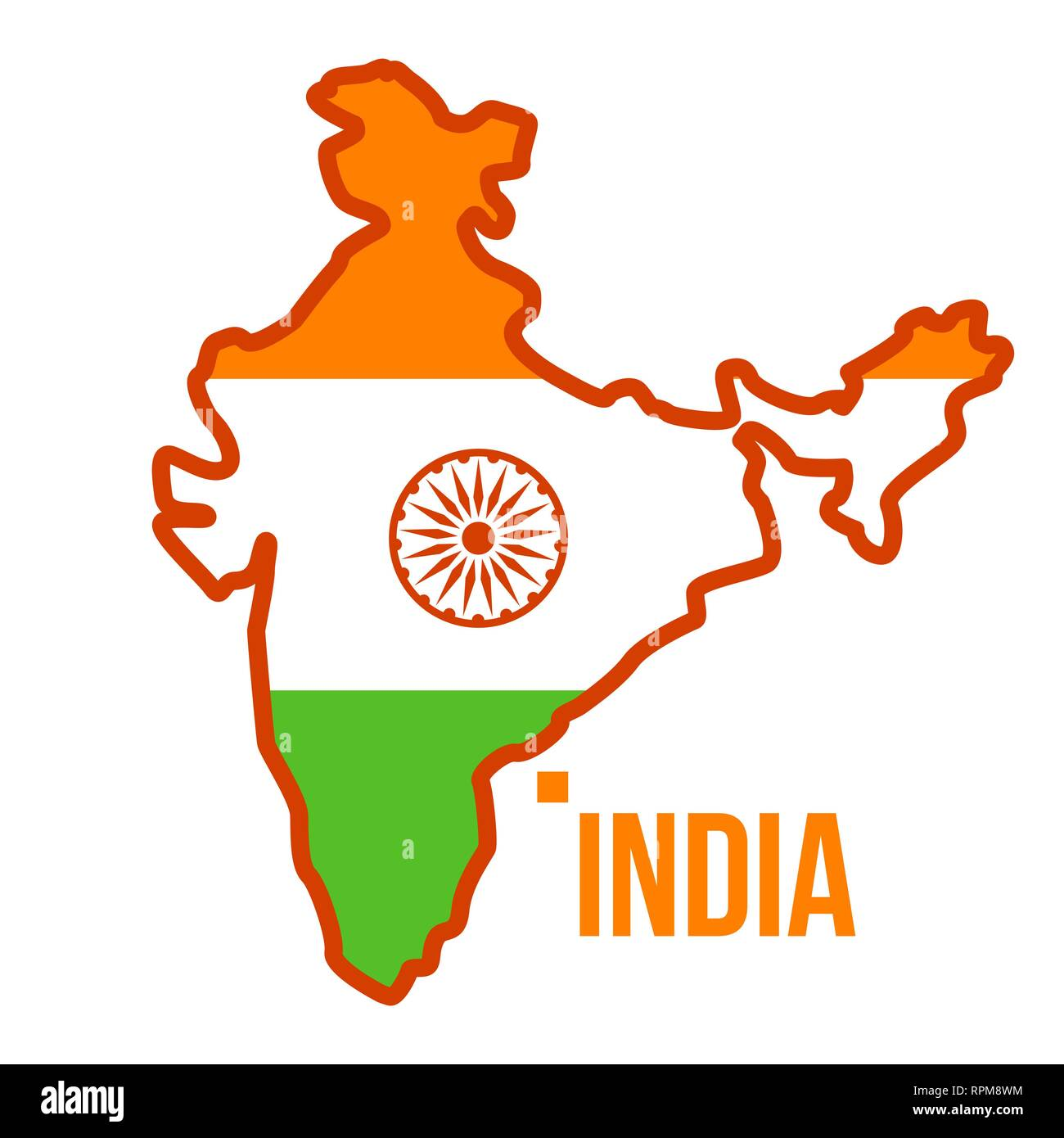 India Map Flag.India Map Vector Flag Isolated Flat Cartoon Illustration Stock