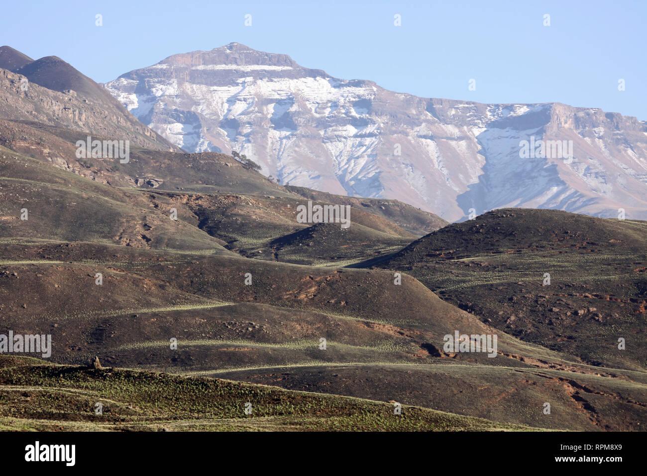 Snow in Drakensburg Mountains, Kwazulu Natal, South Africa - Stock Image