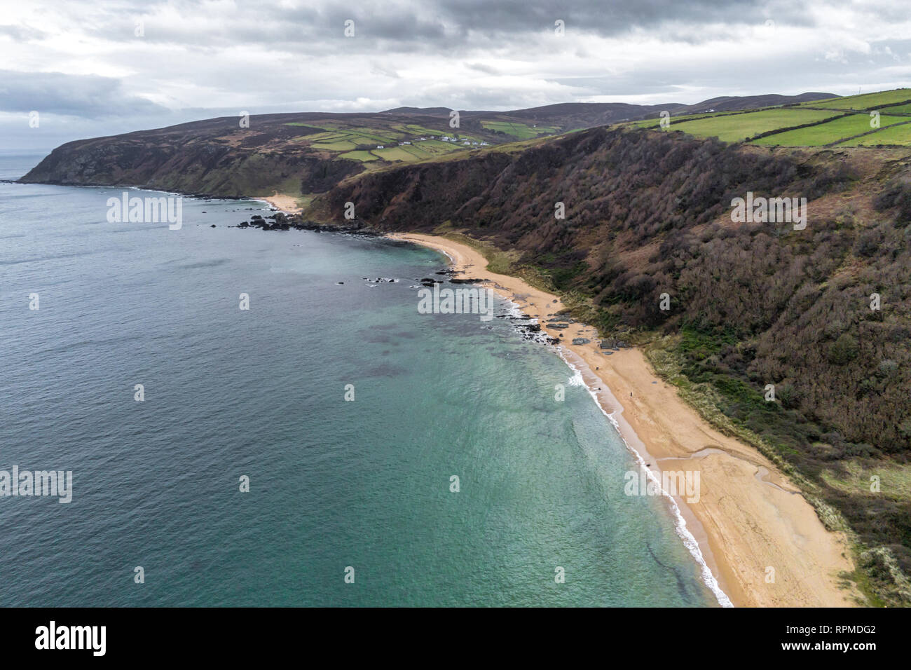 This is an aerial photograph of Kinnageo Beach on the Inishowen peninsula in Donegal Ireland.  It shows the crystal clear turquoise water of the Atlan - Stock Image