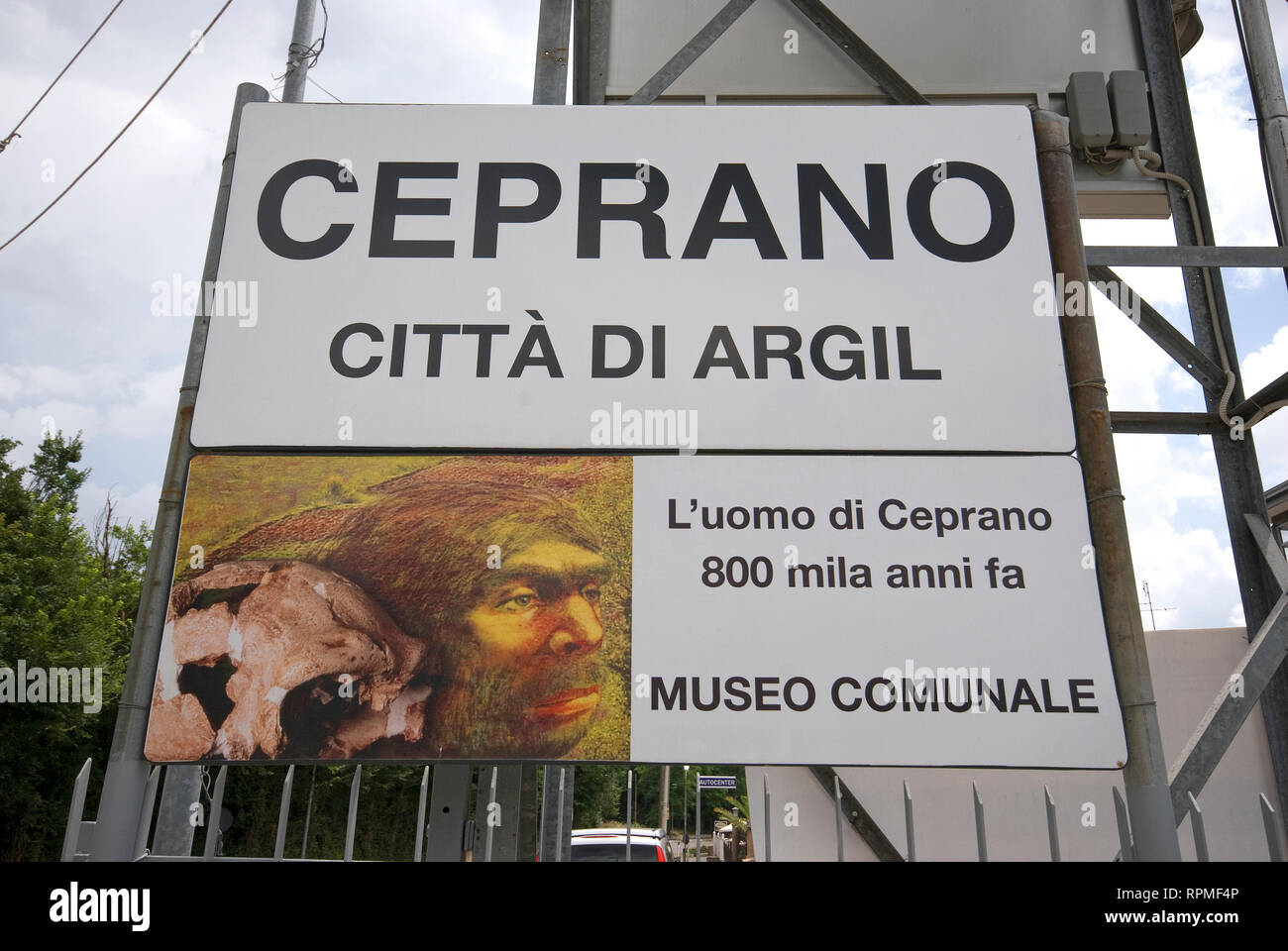 Welcome sign to Ceprano (known as the town of Argil, an ancient human fossil found in 1994), Lazio, Italy Stock Photo
