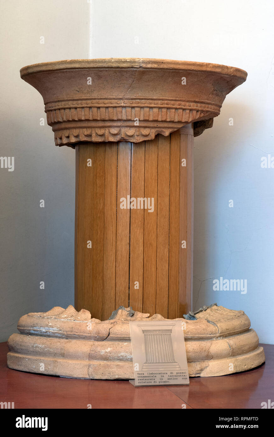 "Ancient water well mouth restored at Archaeological Museum Fregellae ""AMEDEO MAIURI"", Ceprano, Lazio, Italy Stock Photo"