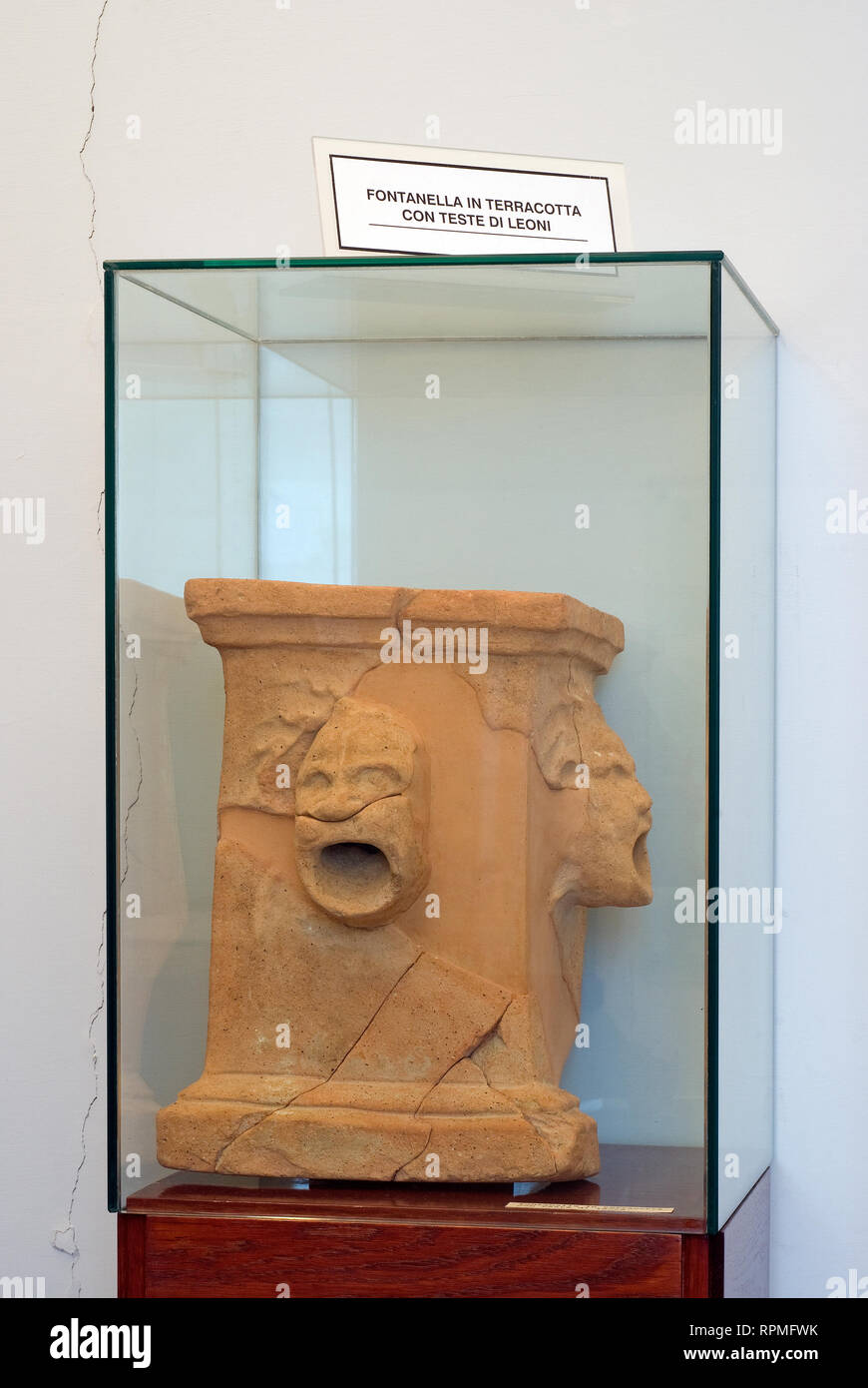 "Small terracotta fountain at Archaeological Museum Fregellae ""AMEDEO MAIURI"", Ceprano, Lazio, Italy Stock Photo"