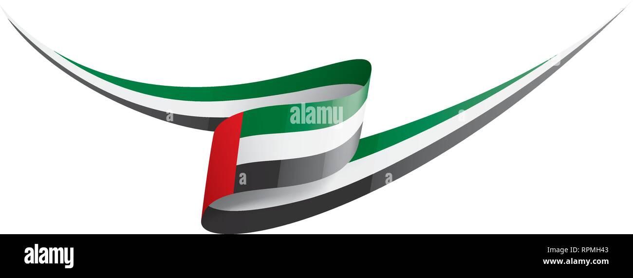 United Arab Emirates flag, vector illustration on a white background - Stock Image