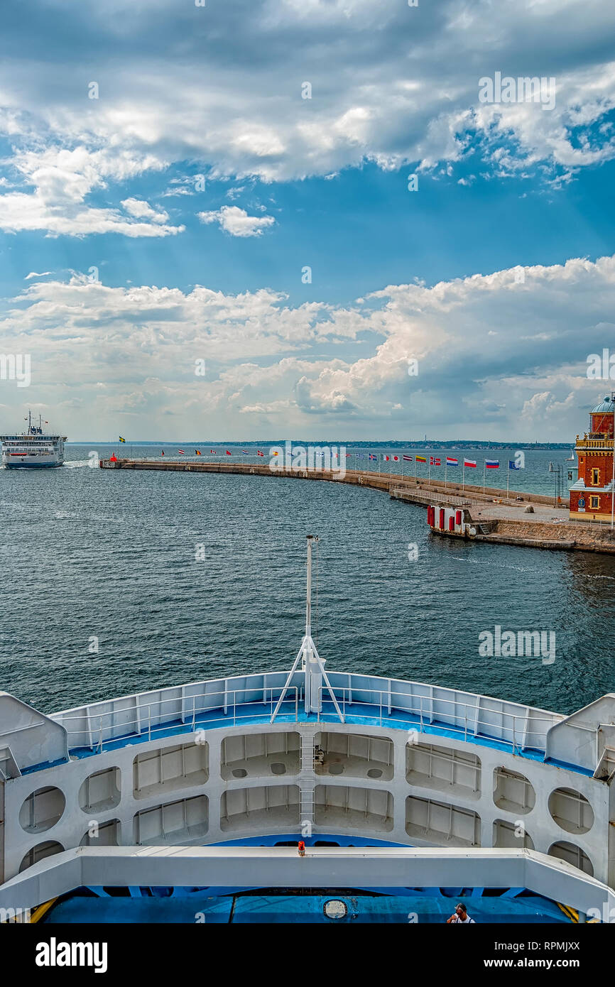 An image of a passenger ferry commuting between Helsinborg in Sweden and Helsingor in Denmark - Stock Image