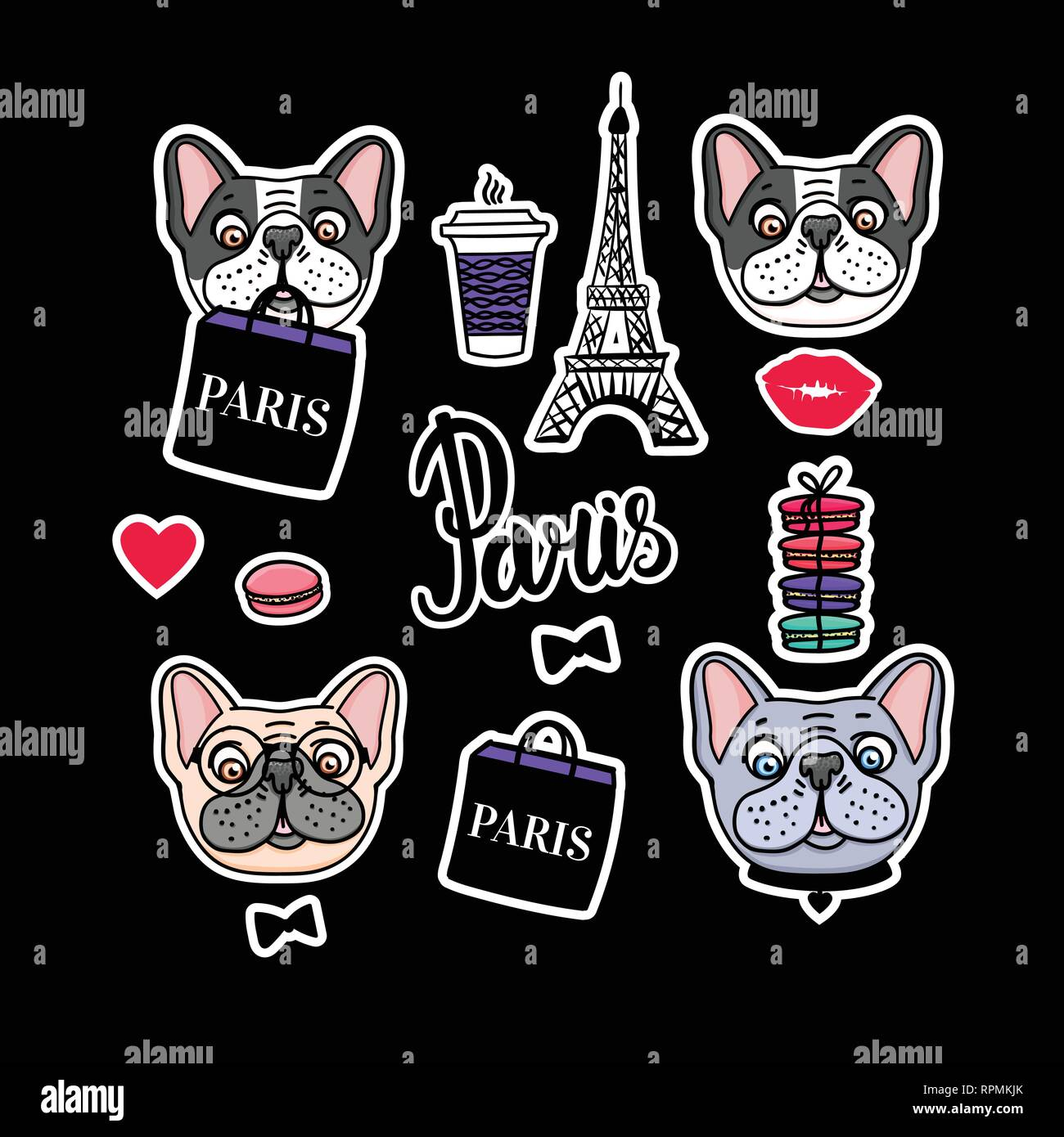 French Bulldog set. Eiffel Tower and cute dog faces. Vector hand drawn Sticker. - Stock Vector