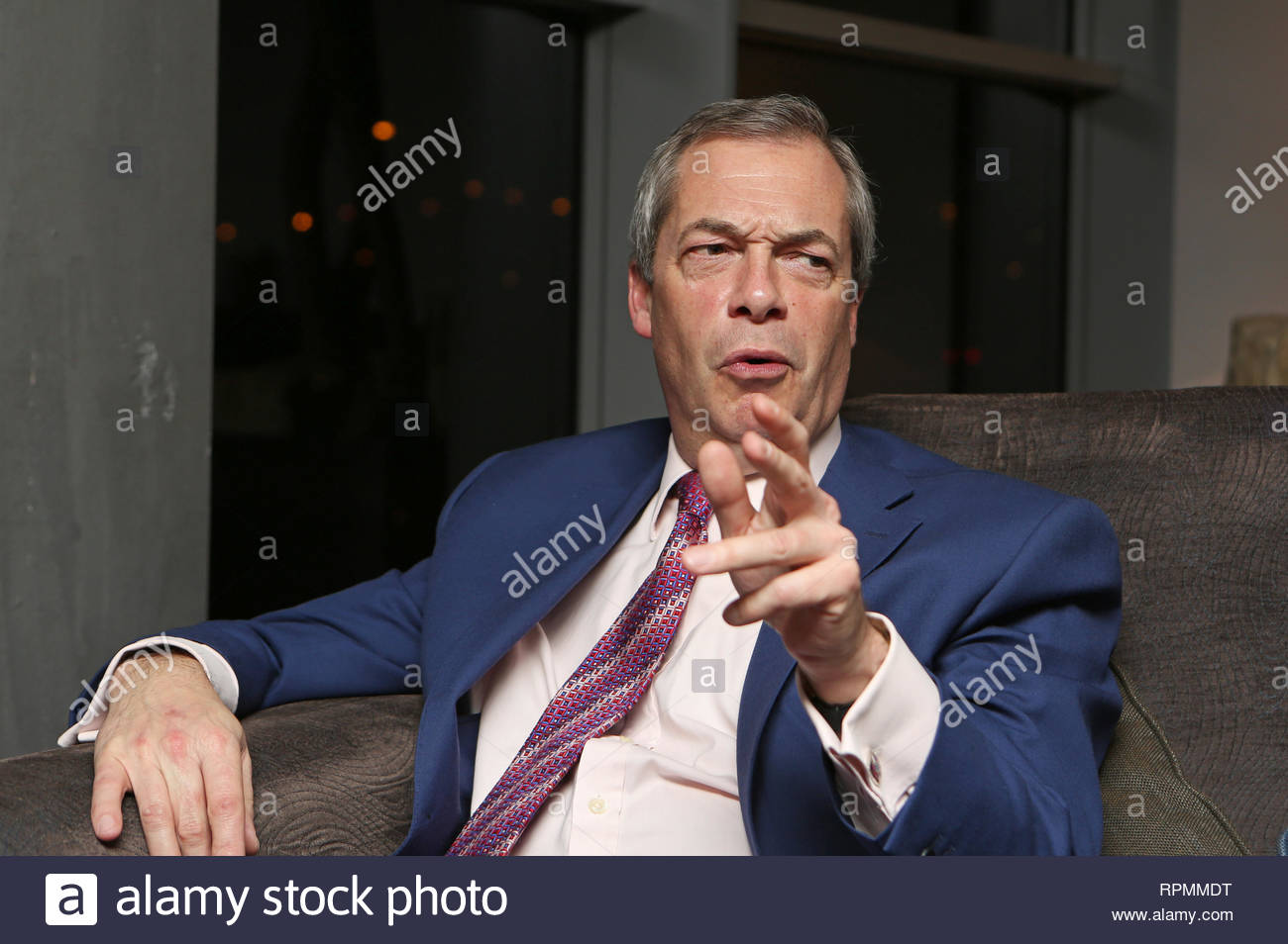 UKIP leader Nigel Farage interviewed during the EU referendum campaign. - Stock Image