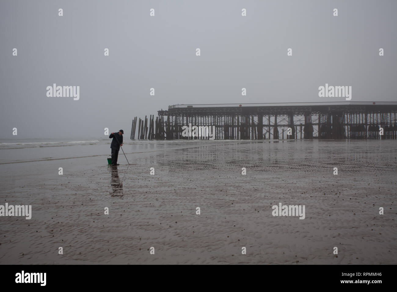 Local angler digging for sea worms at low tide during a very misty morning in February Hastings, East Sussex, Uk - Stock Image