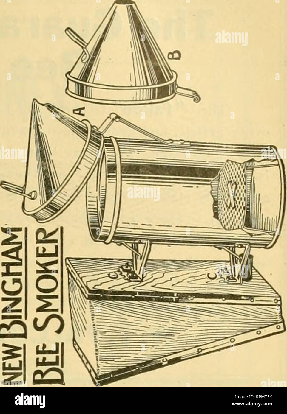 . American bee journal. Bee culture; Bees. PATENTED Wright's Frame-Wiring Device Most rapid in use. Saves cost of machine i one day. Tighter wires, no kinks, no sore ands. Price, $2.50, postpaid in U. S. A. G. W. Wright Company, Azusa, Calf. BUY THE FAMOUS DAVIS GOLDENS And get big yields from gentle bees. Write for Circular and Price List. BEN G. DAVIS, Spring Hill, Tennessee. NOTICE—Special Sale on Sections No. 1 Beeway $6.00, No. 2 $5.50 per 1,000 No. 1 Plain $5.75, No. 2 $5.25 per 1,000 All other supplies at a reduced price. Get your orders in when you see this. The Old Bee and Honey Man,  - Stock Image