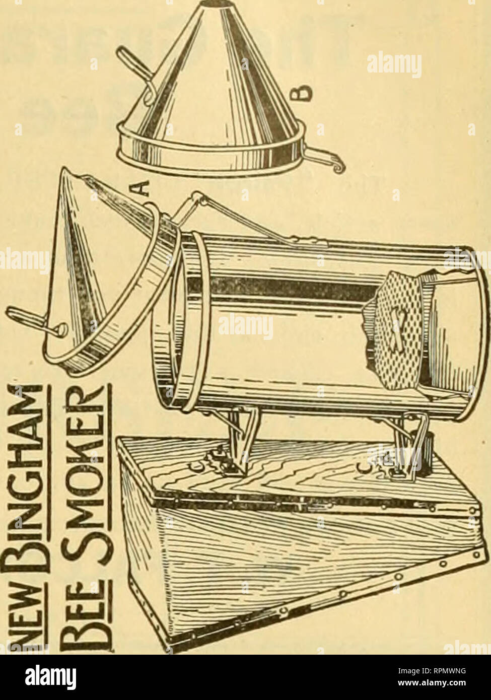 . American bee journal. Bee culture; Bees. PATENTED Wright's Frame-Wiring Device Most rapid in use. Saves cost of machine i one day. Tighter wires, no kinks, no sore ands. Price, $2.5C, postpaid in U. S. A. G. W. Wright Company, Azusa, Calf. THE FAMOUS DAVIS 60LDENS And get big yields from gentle bees* Write for Circular and Price List. BEN G. DAVIS, Spring Hill, Tennessee. NOTICE—Special Sale on Sections Xo. 1 Beeway $6.00, No. 2 $5.50 per 1,000 No. 1 Plain $5.75, No. 2 $5.25 per 1,000 All other supplies at a reduced price. Get our orders in when you see this. The Old Bee and Honey Man, W. D. - Stock Image