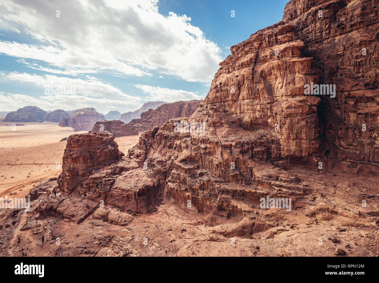 Rocks above so called Lawrence House in Wadi Rum valley also called Valley of the Moon in Jordan - Stock Image