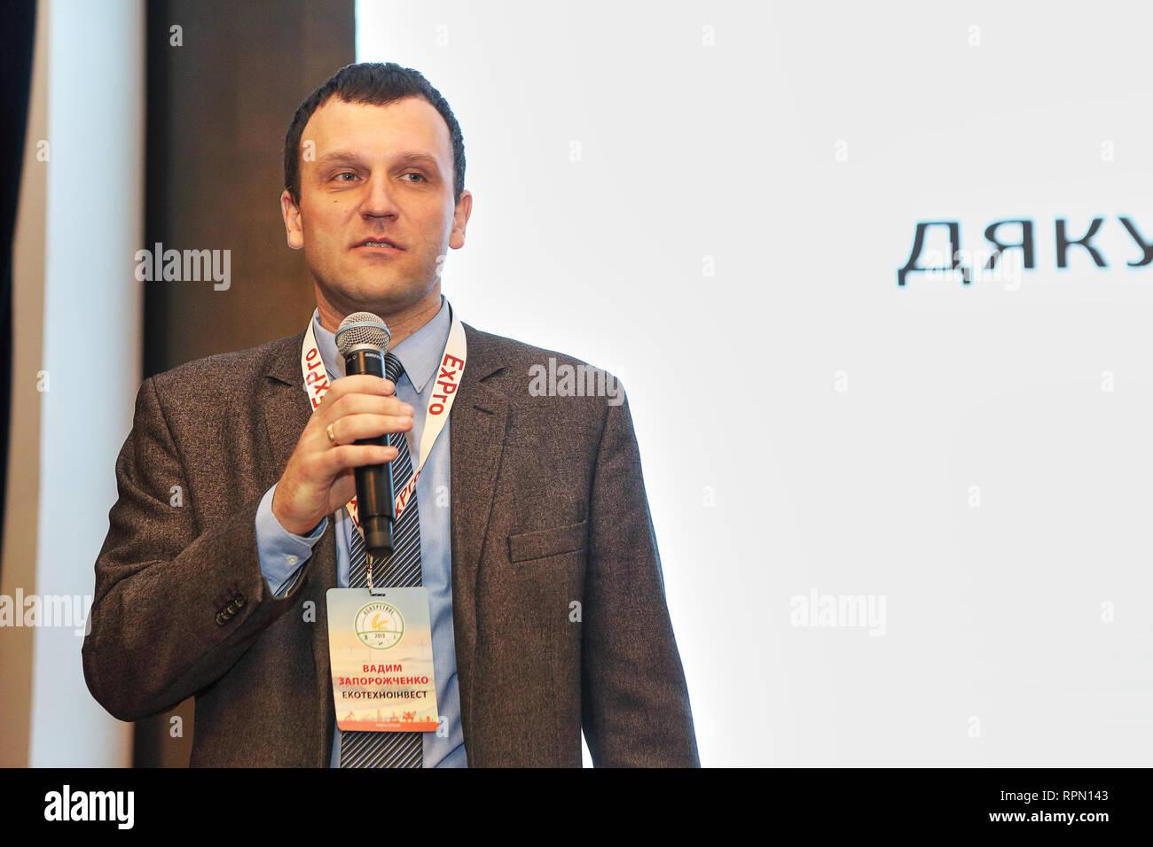 Ukraine's natural gas trader Vadym Zaporoshchenko from ETI trading speaks at Agropetrol 2019 energy conference in Kiev Premier palace hotel, 8Feb 2019 - Stock Image