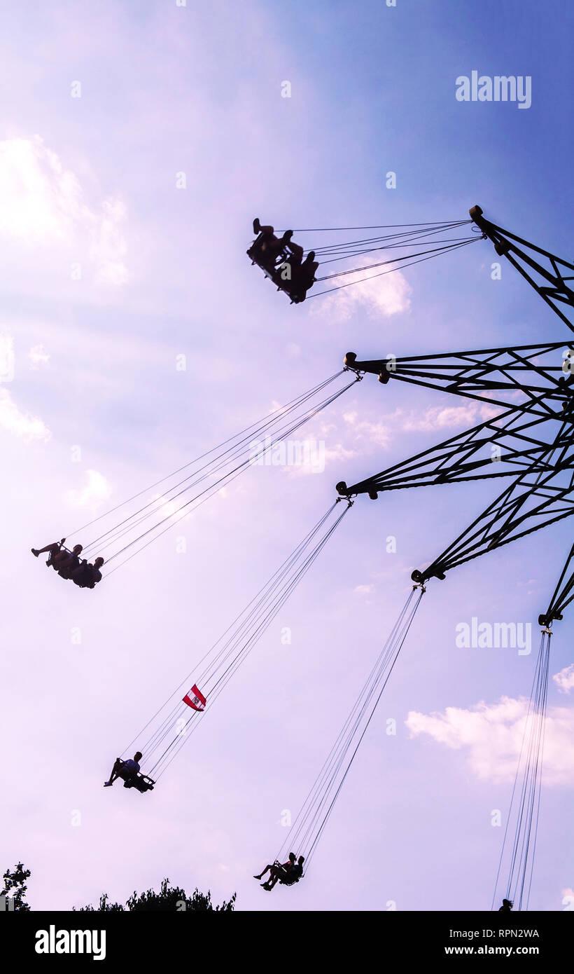 Swing ride, Prater amusement park, Vienna, Austria - Stock Image