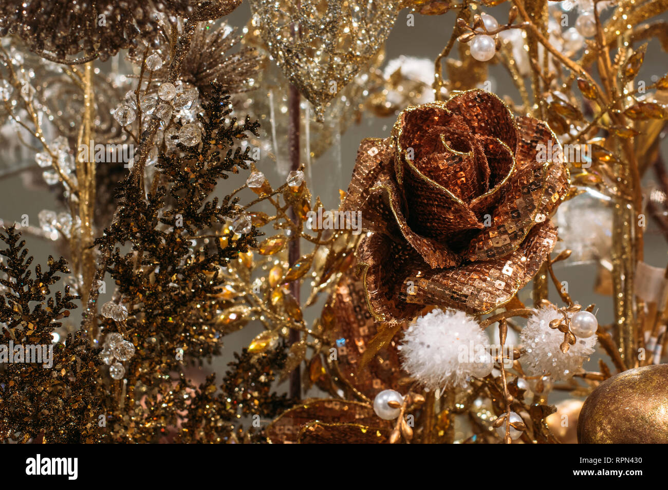 Rose Christmas Tree Decorations All In One Color Yellow And Gold Background Stock Photo Alamy
