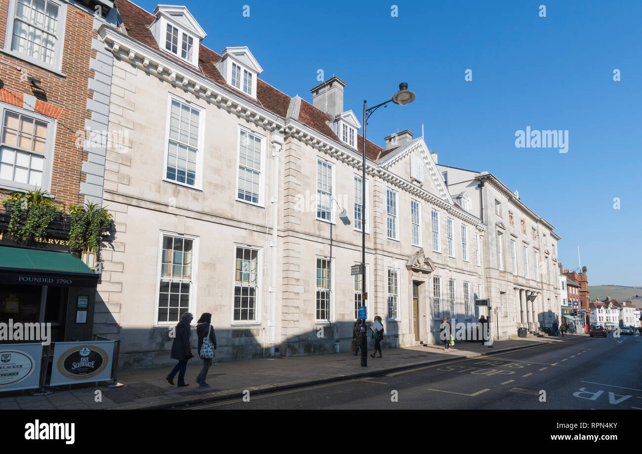Lewes Crown Court (law courts) and County Court buildings in Lewes, East Sussex, England, UK. - Stock Image
