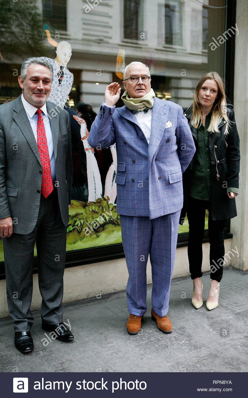 fde6eb06082d7 [USA ONLY] London, UK - Designer Manolo Blahnik unveils the new fashion  windows at The May Fair hotel which he designed for Fashion Week in London.