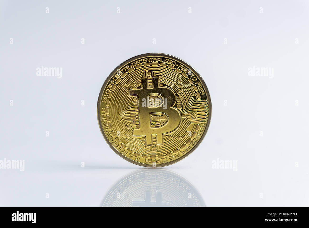 Bitcoin. Crypto currency Gold Bitcoin, BTC, Bit Coin. Macro shot of Bitcoin coins isolated on white background, cut out Blockchain technology, - Stock Image