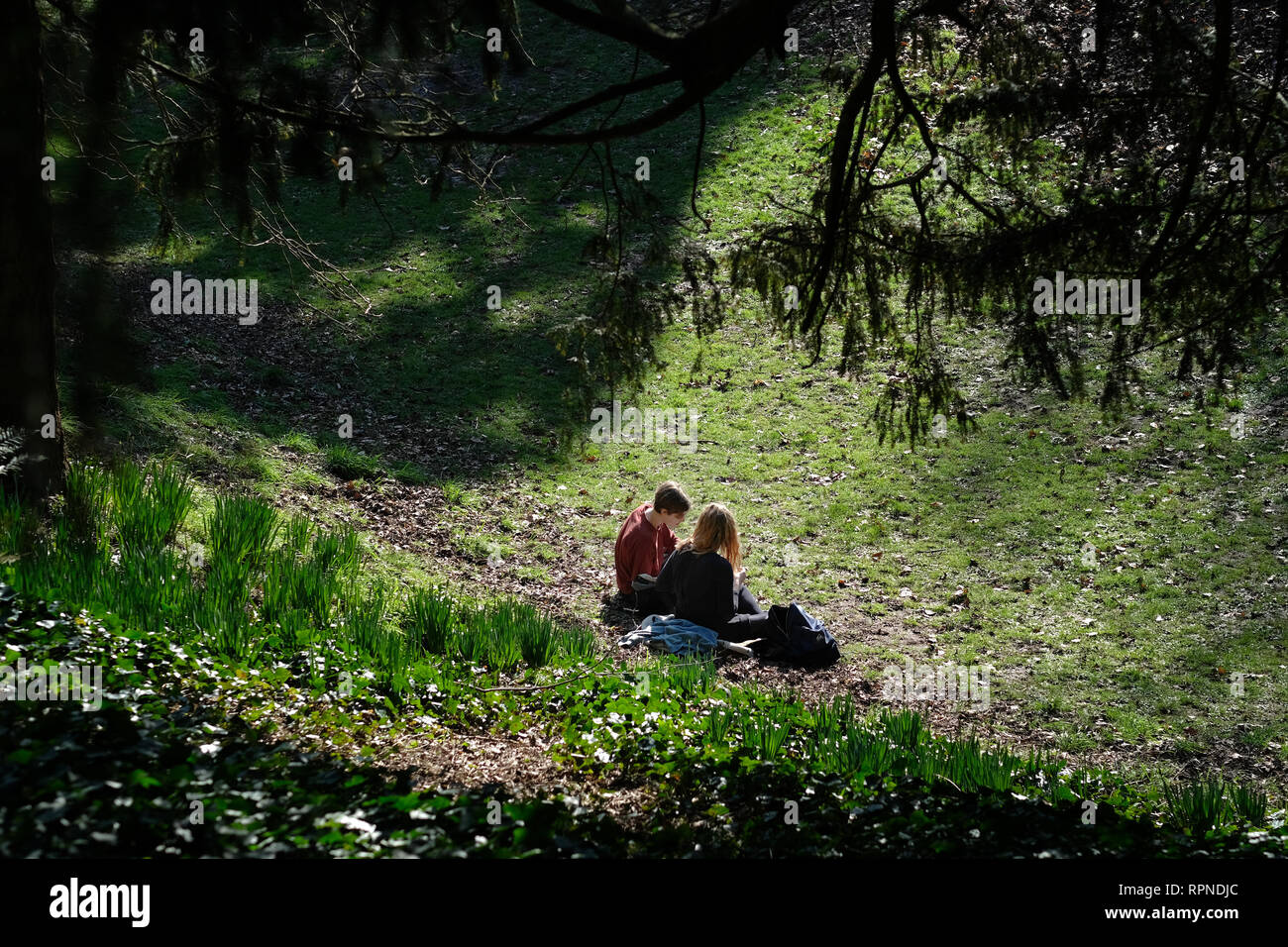 Two students in the park next to Exeter castle in the early spring sunshine. - Stock Image