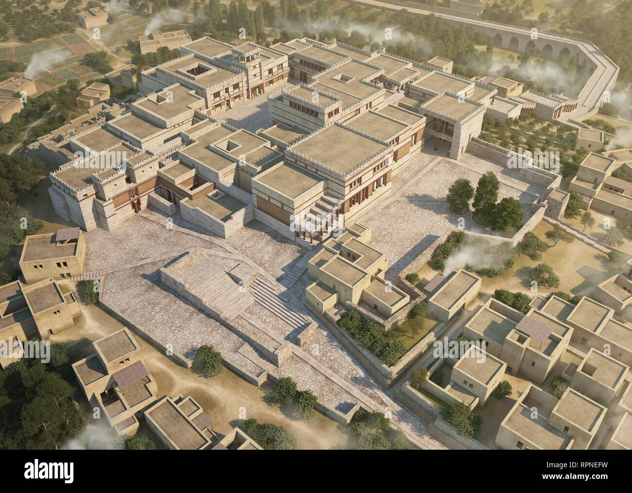 Palace of Knossos towards 1350 BCE. Ideal reconstruction of the palace in its final phase and maximum splendor in a conjectural proposal of the upper floors as it is known in depth the structure in the lower floors despite the superposition of structures that made it associated with the famous labyrinth of the minotaur. - Stock Image