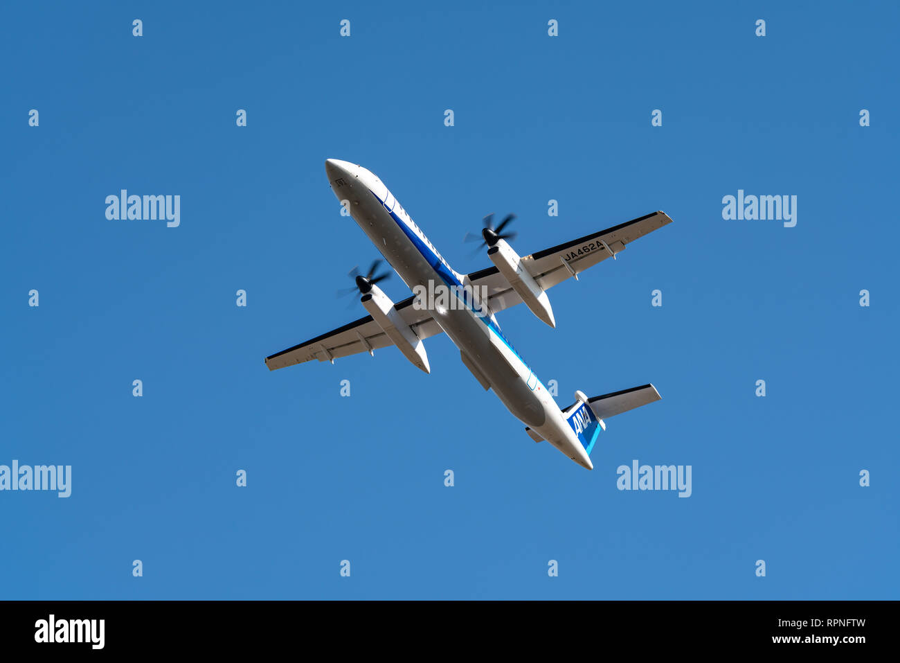 OSAKA, JAPAN - JAN. 1, 2019: ANA Wings Bombardier DHC-8-400Q Dash 8 taking off from the Itami International Airport in Osaka, Japan. - Stock Image