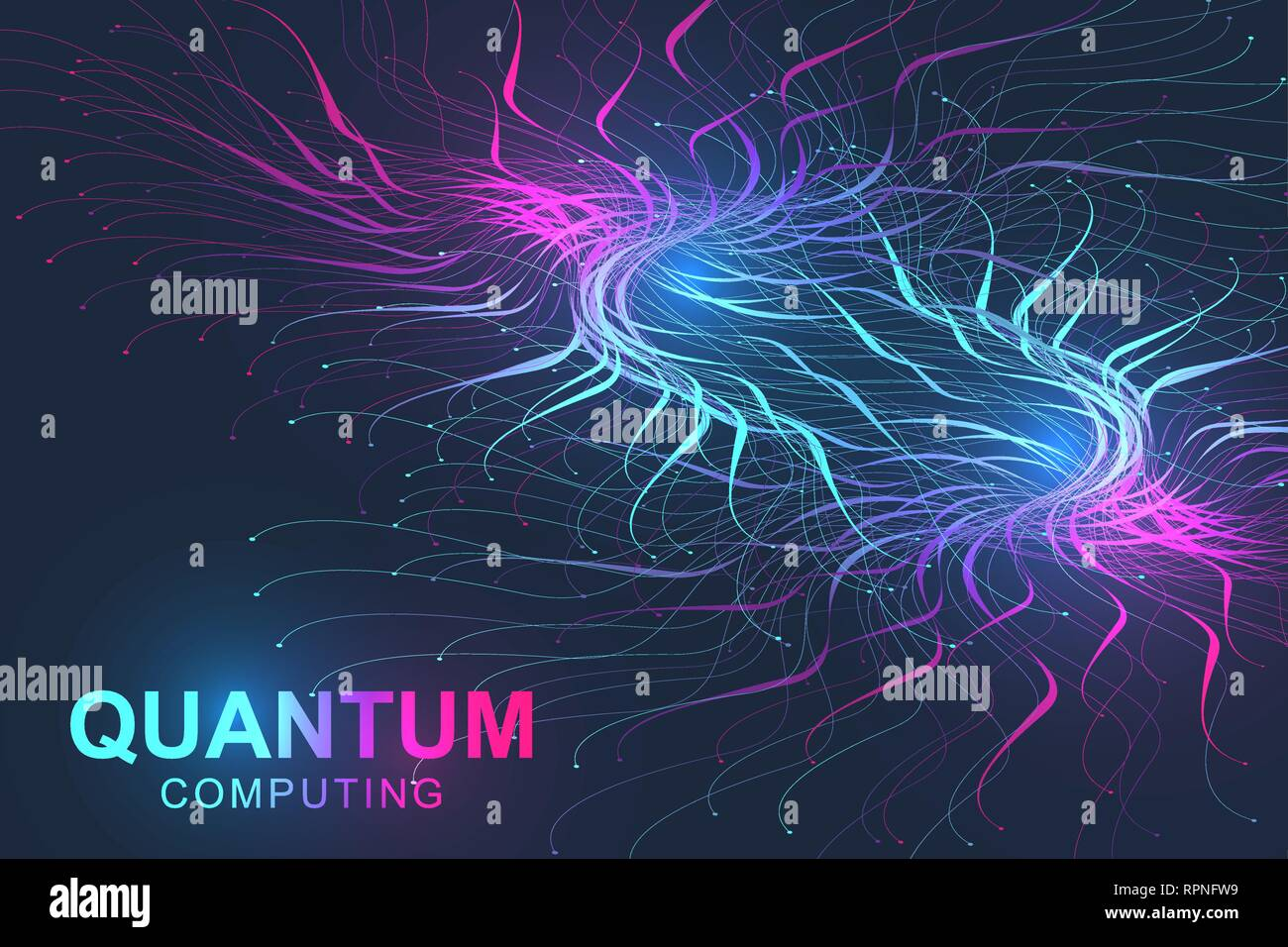 Quantum computer technology concept. Deep learning artificial intelligence. Big data algorithms visualization for business, science, technology. Waves - Stock Image