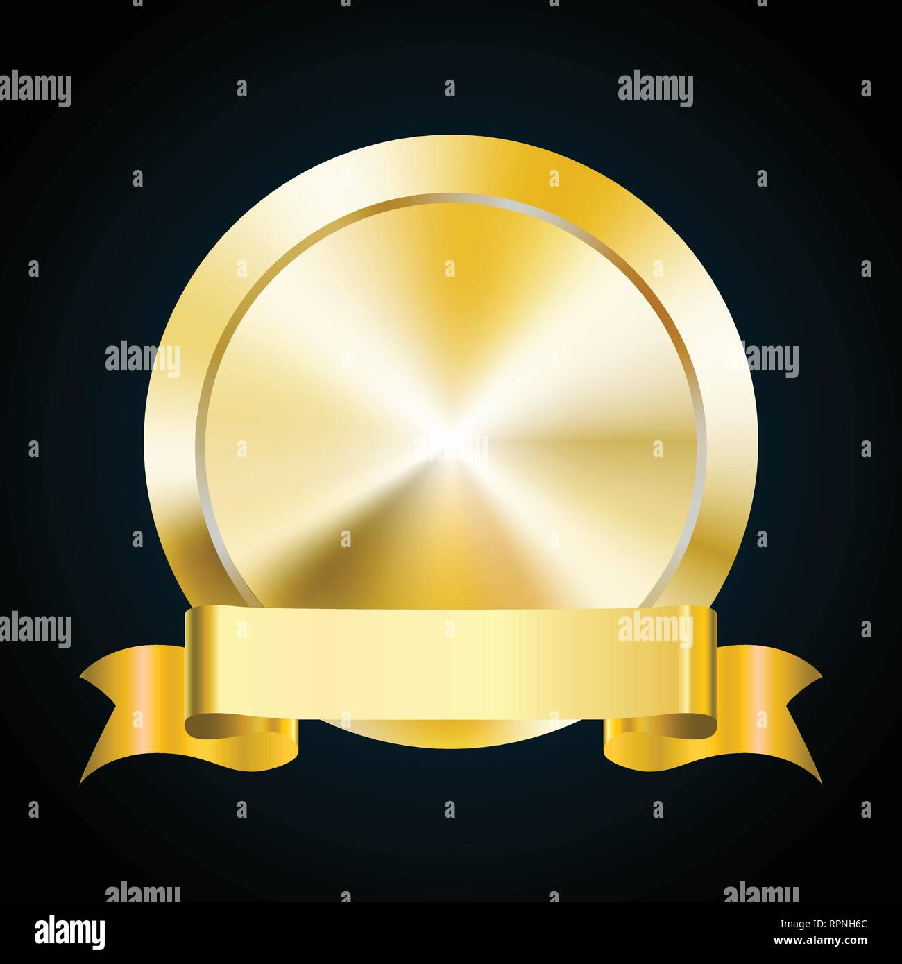 Blank Gold Medal Token And Ribbon Banner Vector Illustration Of Award Stock Vector Image Art Alamy