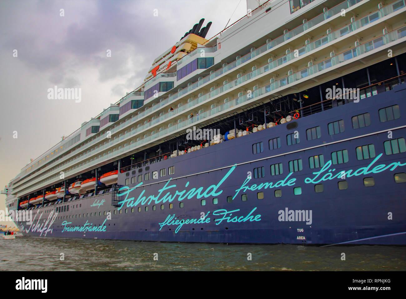 Mein Schiff Valletta cruise ship cabin side view in Hamburg harbor archival 2010 - Stock Image