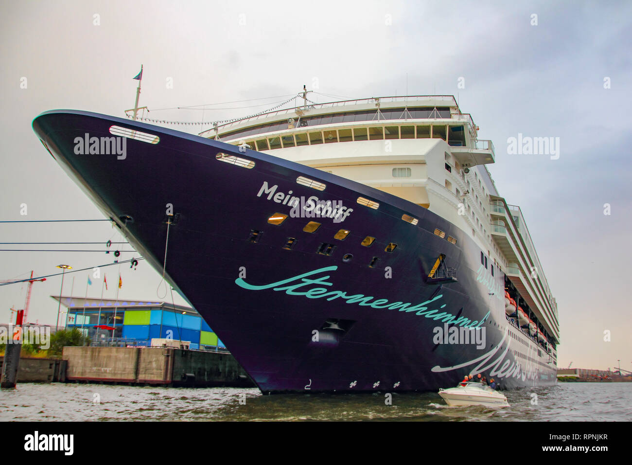 Mein Schiff Valletta cruise ship side-front view in Hamburg harbor archival 2010 - Stock Image
