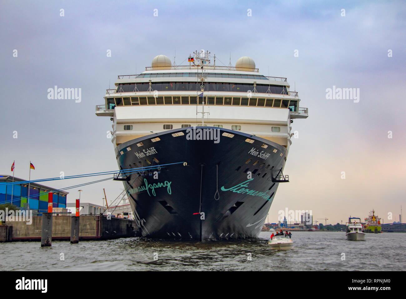 Mein Schiff Valletta cruise ship total front view in Hamburg harbor archival 2010 - Stock Image