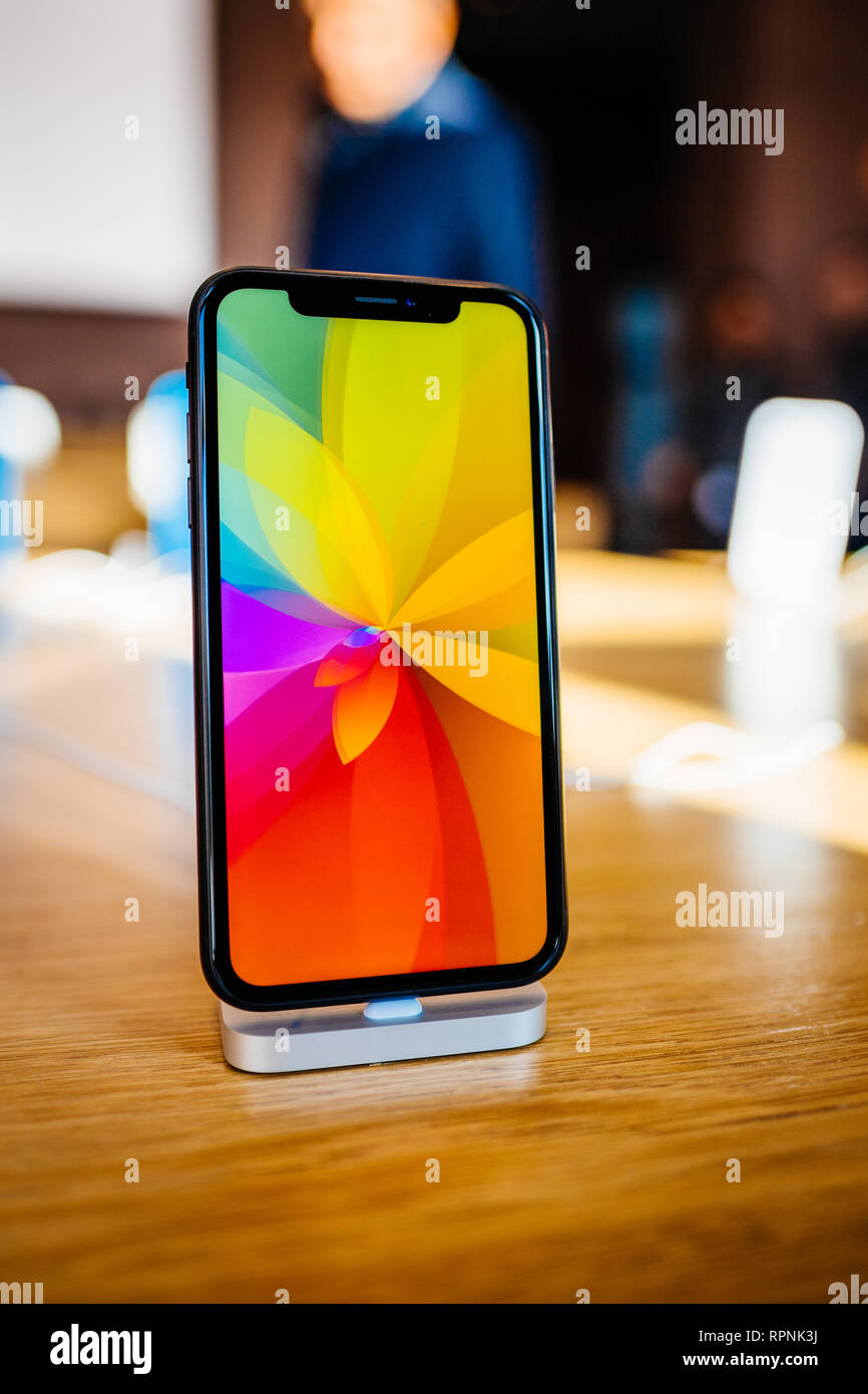 PARIS, FRANCE - OCT 26, 2018: New iPhone XR smartphone in
