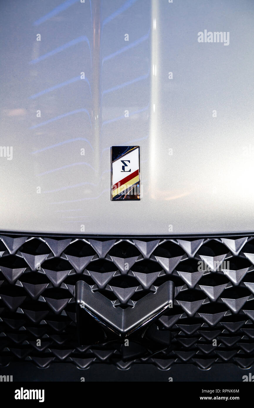 PARIS, FRANCE - OCT 4, 2018: logotype of new French Citroen DS 3 Crossback e-Tense electric car exhibition Mondial Paris Motor Show - Stock Image