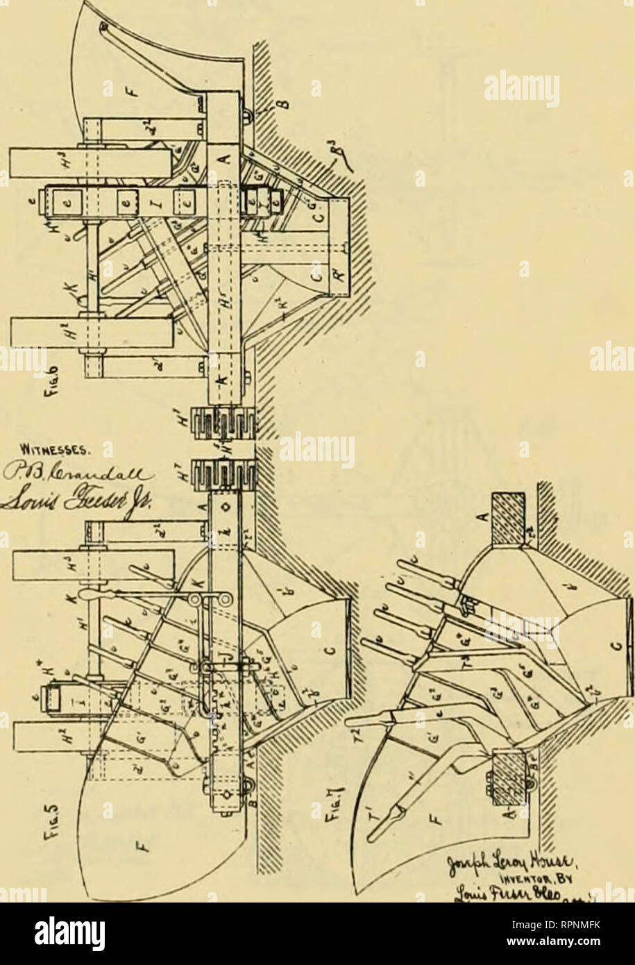 . Allen's digest of plows, with attachments, patented in the United States from A.D. 1789 to January 1883 ... Plows; Patents. No. 242.450. 3 Bbeats—fibeet U. J. L. HOUSE. Ditching Plow. Patented June 7. 1881. -.So Model.i V Snoeti—8beet t. F. A. HILL & M. J. CHUECH. DITOHING 4ND OEADIKO PLOW. No. 268,064. Patented May UL 1882.. Please note that these images are extracted from scanned page images that may have been digitally enhanced for readability - coloration and appearance of these illustrations may not perfectly resemble the original work.. Allen, James T. (James Titus). [Washington, D - Stock Image