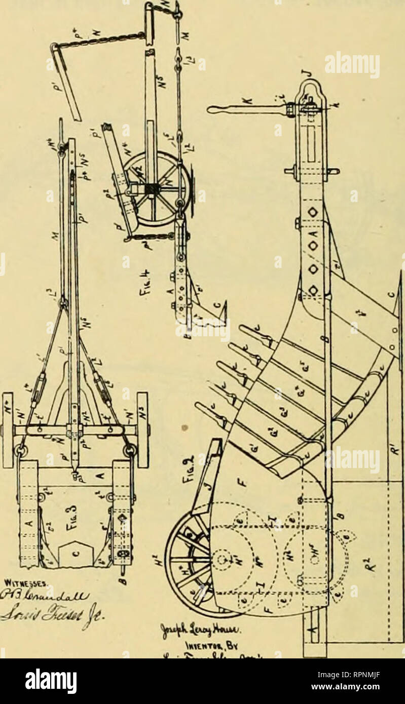 . Allen's digest of plows, with attachments, patented in the United States from A.D. 1789 to January 1883 ... Plows; Patents. No. 2*2.450. S Sbeetl—Sbeel 'I J. L. HOUSE. Di'.ohing Plow. Patented June 7. 1881.. No. 242.450. 3 Bbeats—fibeet U. J. L. HOUSE. Ditching Plow. Patented June 7. 1881. -.So Model.i V Snoeti—8beet t. F. A. HILL & M. J. CHUECH. DITOHING 4ND OEADIKO PLOW. No. 268,064. Patented May UL 1882.. Please note that these images are extracted from scanned page images that may have been digitally enhanced for readability - coloration and appearance of these illustrations may not  - Stock Image