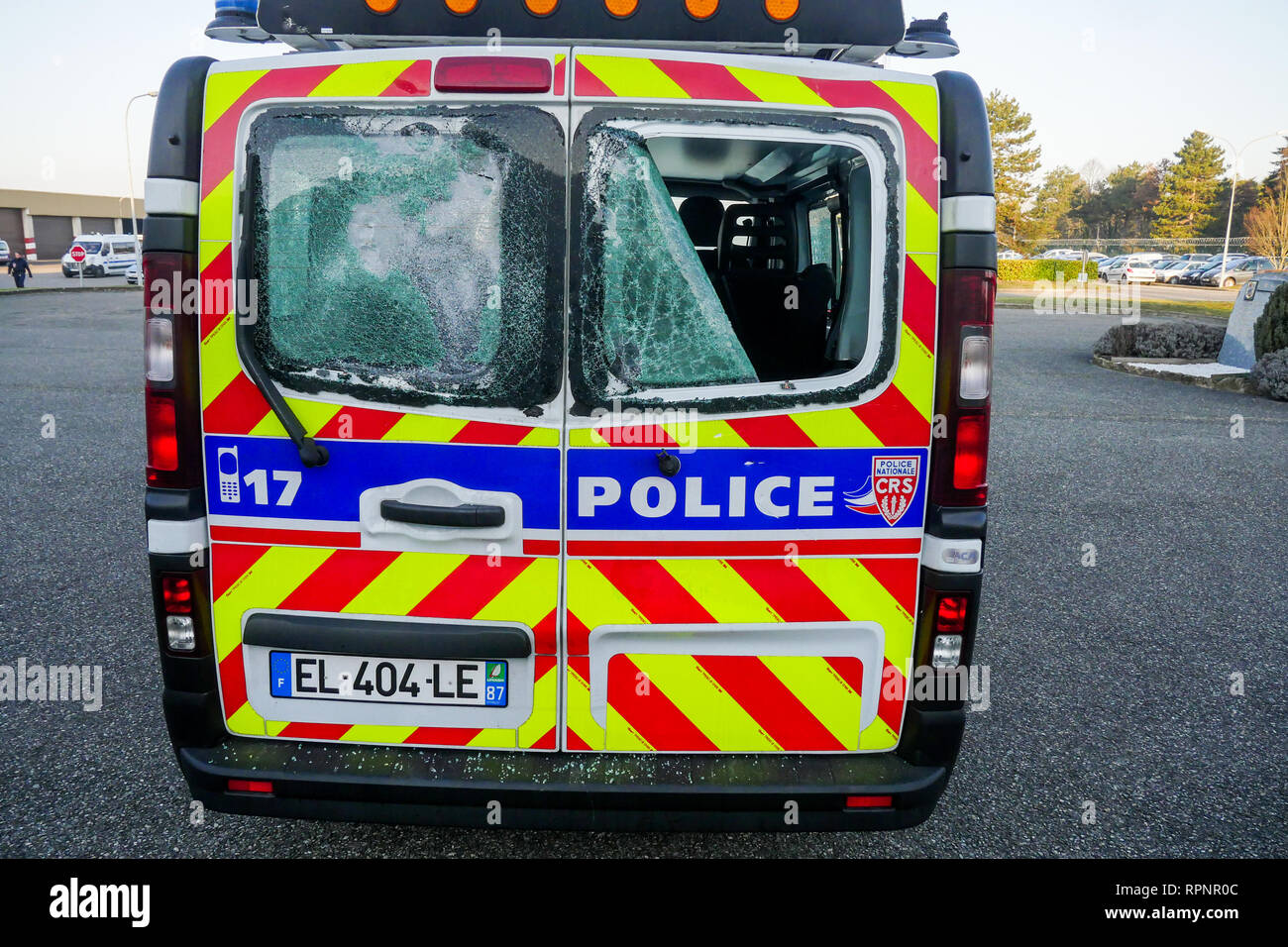 Police vehicle destroyed by the Yellow Jackets, Chassieu, France - Stock Image
