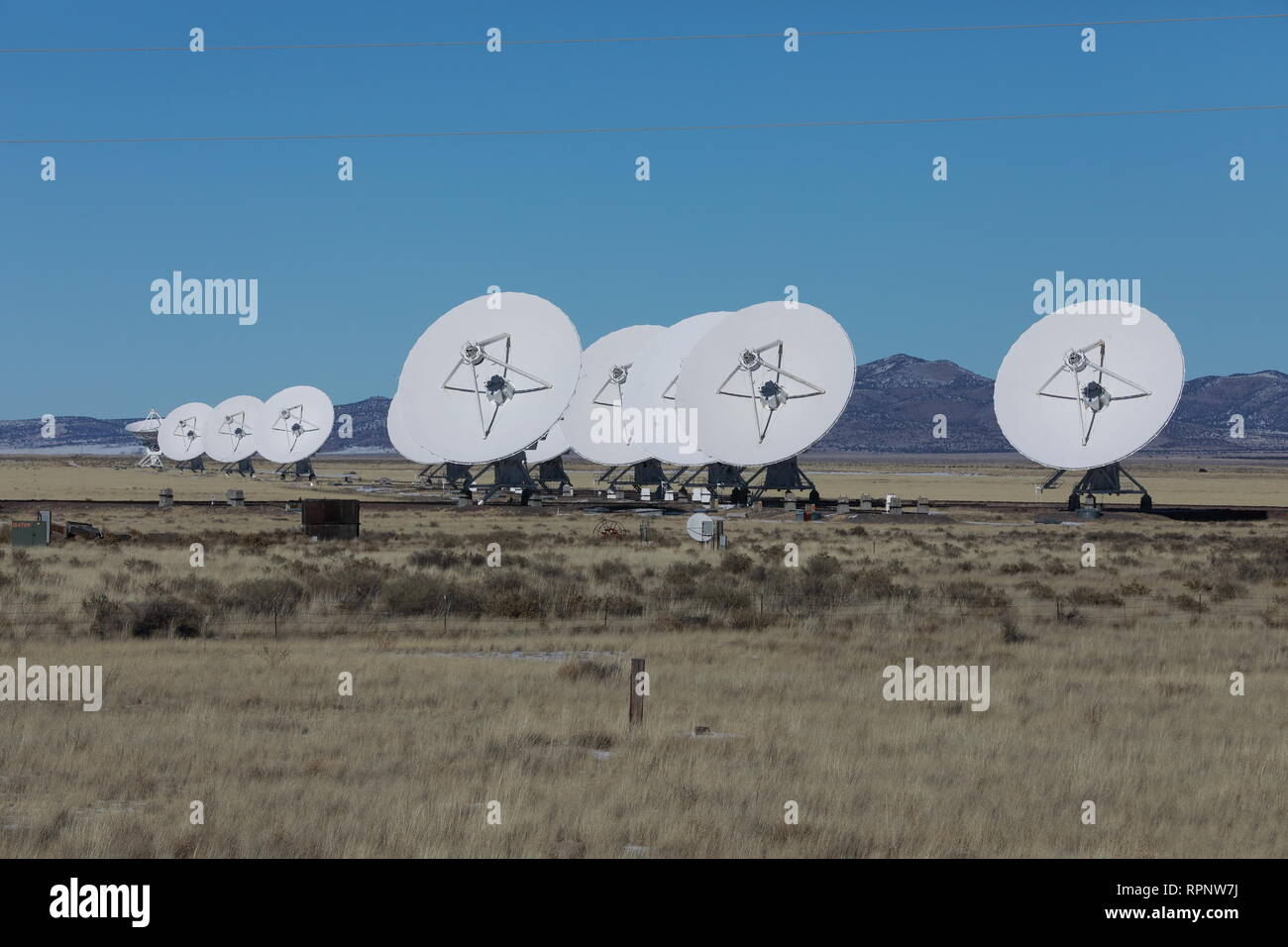 Radiotelescopes at the Very Large Array, the National Radio Observatory in New Mexico ,USA Stock Photo