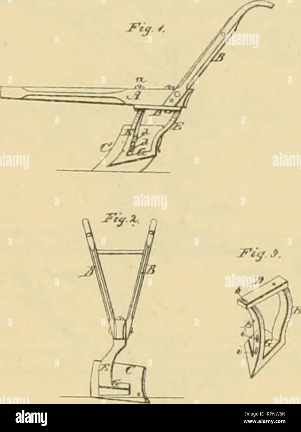 . Allen's digest of plows, with attachments, patented in the United States from A.D. 1789 to January 1883 ... Plows; Patents. 1. M. COBB. Cotton Scraping-Plows. t>lo. 144,509. PaliiiladNo>..ll. 1813.. /2i/<*^ ii^i'M. No. 146.848 F. G. THURSTON. fuTow-Scrapers. Pjifnledlm. ?(, IB7<. E. HAIMAN. Sweeps 7or Cultivators anil Plows. IVo.147,633 Palenltd F.b. 17, 1874.. Please note that these images are extracted from scanned page images that may have been digitally enhanced for readability - coloration and appearance of these illustrations may not perfectly resemble the original work.. A - Stock Image
