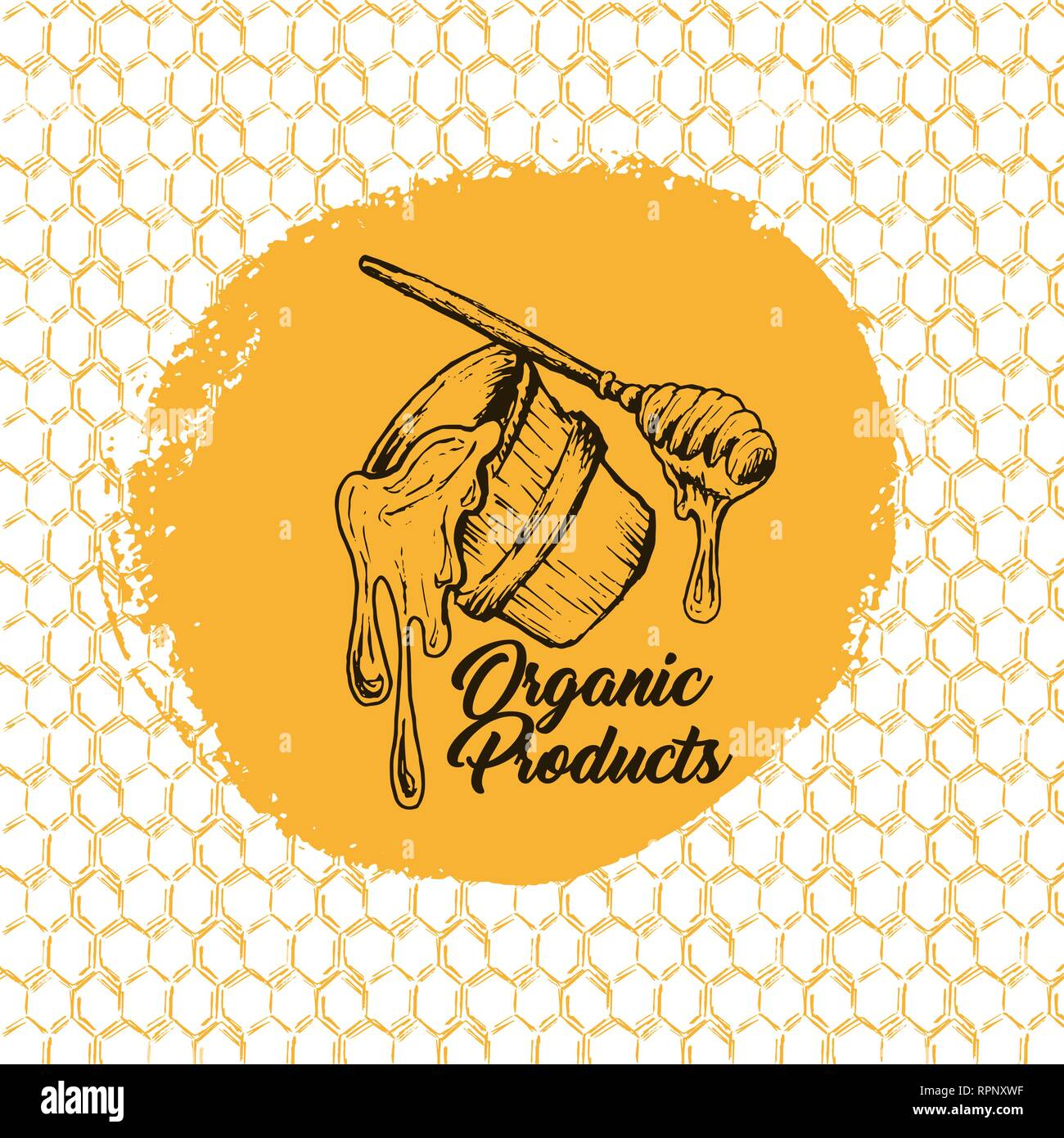 Honey Bee, Sketch Logo Design with Honeycomb Pattern. Vintage hand drawn isolated illustration with handcrafted lettering. - Stock Vector