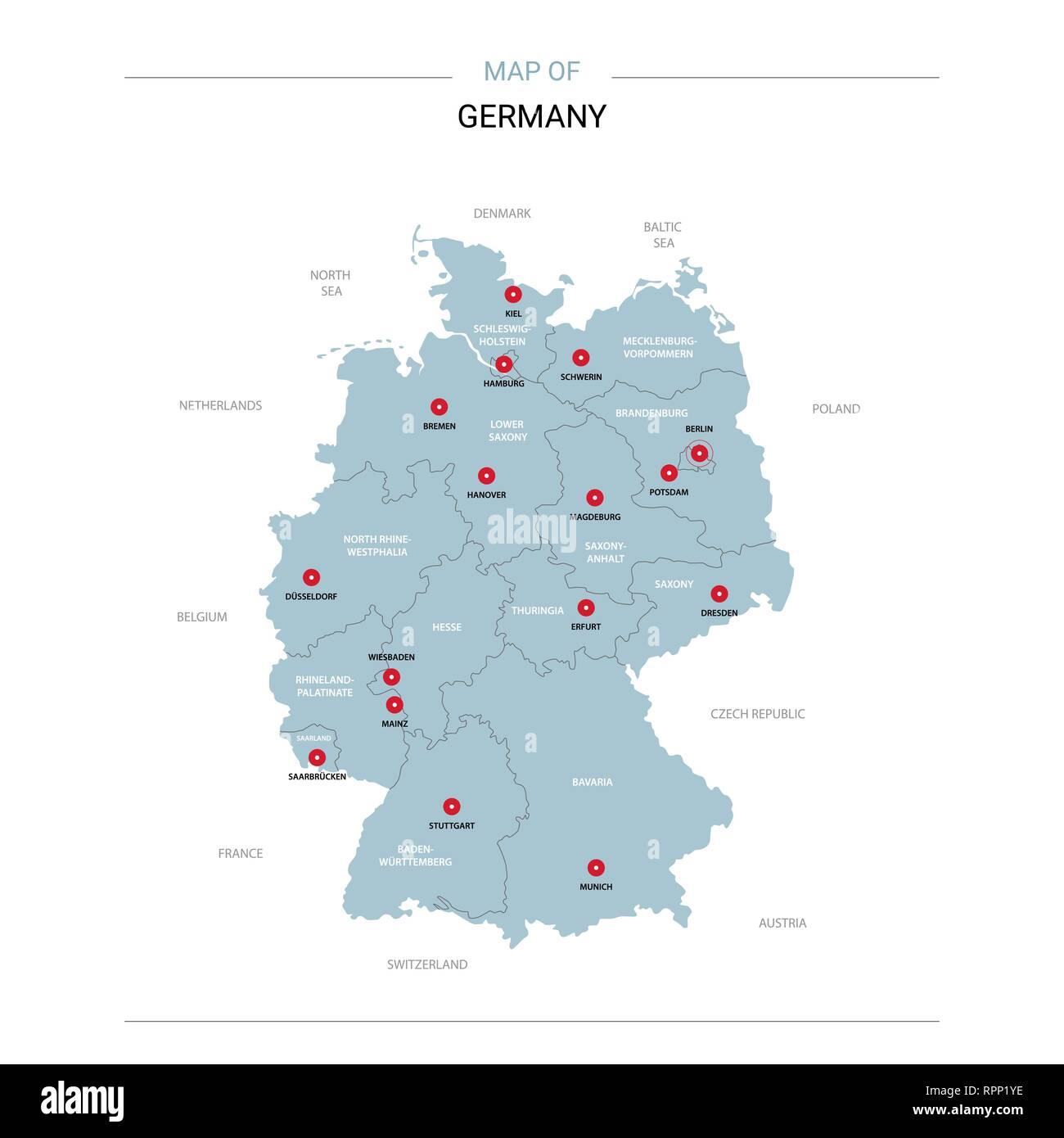 Germany Map City Pins Stock Photos Germany Map City Pins Stock