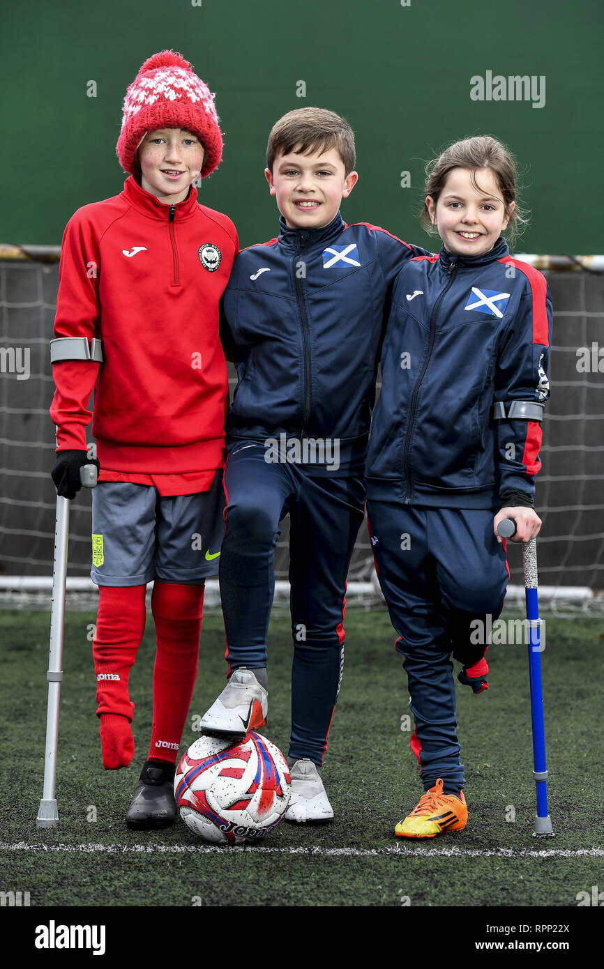 Words: Dean Murray Pictures: Euan Cherry/Cover Images  A charity for young amputee footballers are asking Scotland to get behind them.  Amputee Football Scotland needs vital funds to help three sports-mad children represent their country in Germany.  The inspiring youngsters are hoping to take part in July's European Amputee Football Junior Camp '19.  Keeley Cerretti, 10, from Larkhall, Daniel McDevitt, 10, from Stranraer and Harris Tinney, 11, from Glasgow, all play for Partick Thistle Amputees.  They hope to join up to 100 other young amputees from countries all across Europe over four days  - Stock Image