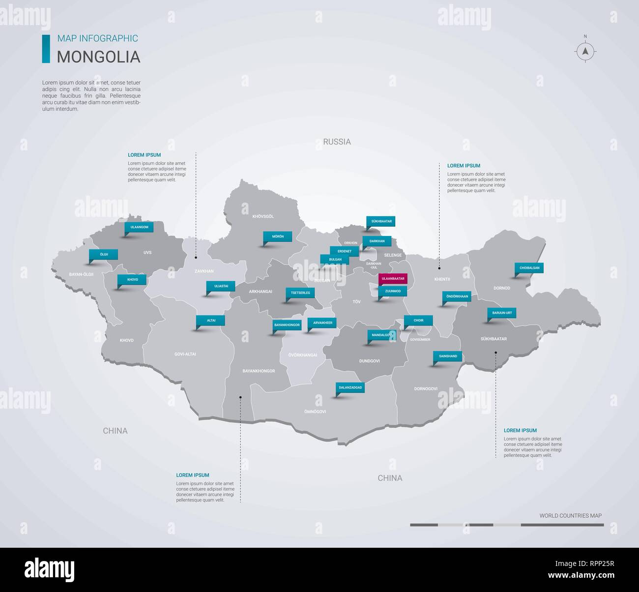 Mongolia vector map with infographic elements, pointer marks. Editable template with regions, cities and capital Ulaanbaatar. - Stock Vector