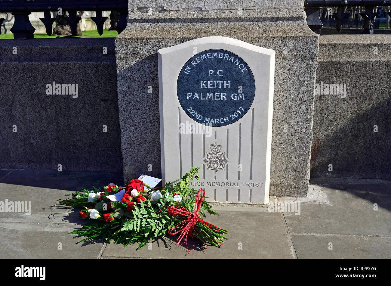 London, England, UK. Memorial to PC Keith Palmer GM (George Medal) murdered in the grounds of the Houses of Parliament 22nd March 2017. Unveilled by t - Stock Image
